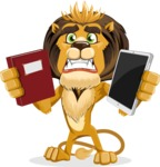 Lion Cartoon Vector Character - Book and iPad