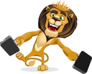 animal lion vector cartoon character pack of poses - Briefcase 3