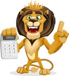 Lion Cartoon Vector Character - Calculator