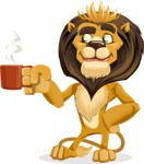 Lion Cartoon Vector Character - Coffee