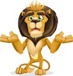 animal lion vector cartoon character pack of poses - Confused