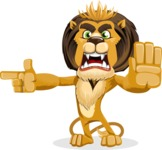 animal lion vector cartoon character pack of poses - Direct Attention