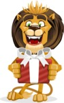 animal lion vector cartoon character pack of poses - Gift
