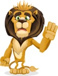 animal lion vector cartoon character pack of poses - Goodbye