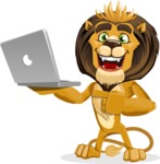 Lion Cartoon Vector Character - Laptop 1