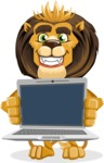 animal lion vector cartoon character pack of poses - Laptop 2