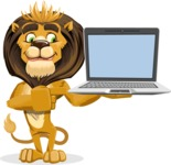 Lion Cartoon Vector Character - Laptop 3