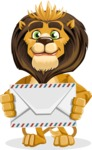 animal lion vector cartoon character pack of poses - Letter