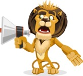 Lion Cartoon Vector Character - Loudspeaker