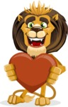 Lion Cartoon Vector Character - Love