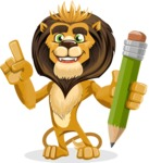 Lion Cartoon Vector Character - Pencil