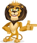 animal lion vector cartoon character pack of poses - Point