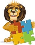 Lion Cartoon Vector Character - Puzzle