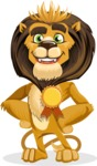 animal lion vector cartoon character pack of poses - Ribbon