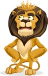 animal lion vector cartoon character pack of poses - Roll Eyes