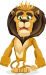 animal lion vector cartoon character pack of poses - Sad