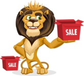 animal lion vector cartoon character pack of poses - Sale