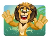 animal lion vector cartoon character pack of poses - Shape 1