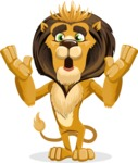 animal lion vector cartoon character pack of poses - Shocked