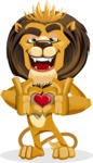Lion Cartoon Vector Character - Show Love