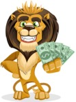 Lion Cartoon Vector Character - Show me the Money