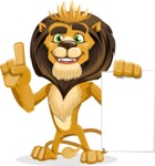 animal lion vector cartoon character pack of poses - Sign 2