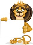 animal lion vector cartoon character pack of poses - Sign 3