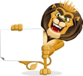 animal lion vector cartoon character pack of poses - Sign 4