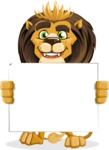 animal lion vector cartoon character pack of poses - Sign 5