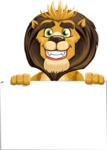 animal lion vector cartoon character pack of poses - Sign 6