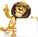 animal lion vector cartoon character pack of poses - Sign 7