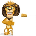 animal lion vector cartoon character pack of poses - Sign 8