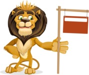 Lion Cartoon Vector Character - Sign 9