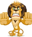 Lion Cartoon Vector Character - Stop