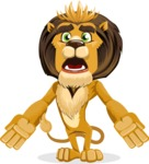 animal lion vector cartoon character pack of poses - Stunned