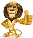 animal lion vector cartoon character pack of poses - Thumbs Up