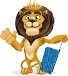 Lion Cartoon Vector Character - Travel 1