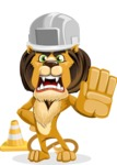 Lion Cartoon Vector Character - Under Construction 1