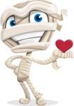 Little Mummy Kid Cartoon Vector Character AKA Fiddo the Mummy Kiddo - Being Cute with Love Heart