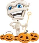 Little Mummy Kid Cartoon Vector Character AKA Fiddo the Mummy Kiddo - Celebrating Halloween With Pumpkins