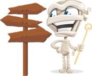 Little Mummy Kid Cartoon Vector Character AKA Fiddo the Mummy Kiddo - Choosing a Way To Go