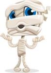 Little Mummy Kid Cartoon Vector Character AKA Fiddo the Mummy Kiddo - Feeling Shocked