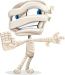 Little Mummy Kid Cartoon Vector Character AKA Fiddo the Mummy Kiddo - Finger Pointing with Angry Face