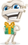 Little Mummy Kid Cartoon Vector Character AKA Fiddo the Mummy Kiddo - Holding a Halloween Gift