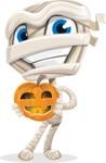 Little Mummy Kid Cartoon Vector Character AKA Fiddo the Mummy Kiddo - Holding a Pumpkin Lantern