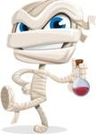 Little Mummy Kid Cartoon Vector Character AKA Fiddo the Mummy Kiddo - Holding Potion