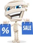 Little Mummy Kid Cartoon Vector Character AKA Fiddo the Mummy Kiddo - Holding Shopping Bags