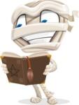 Little Mummy Kid Cartoon Vector Character AKA Fiddo the Mummy Kiddo - Making a Curse with a Book