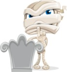 Little Mummy Kid Cartoon Vector Character AKA Fiddo the Mummy Kiddo - On a Grave