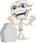 Little Mummy Kid Cartoon Vector Character AKA Fiddo the Mummy Kiddo - On a Graveyard
